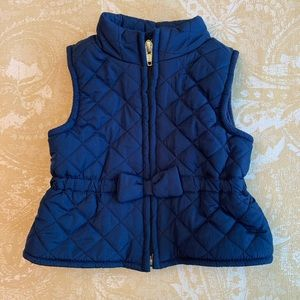Quilted Zip-Front Bow Vest Fleece Lined 3-6M Blue